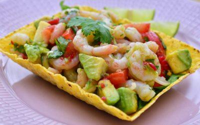 Ceviche med räkor taco style