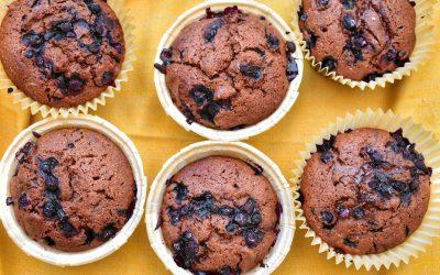 Choklad- och blåbärsmuffins