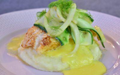 Smörstekt torsk med potatispuré, hollandaise och fänkåls- och gurksallad