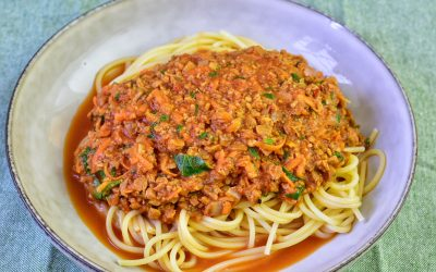 Sojafärssås med spaghetti