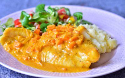 Fiskgratäng med curry och apelsin