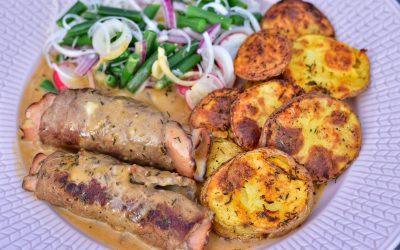 Skinkfylld lövbiff med ugnsrostad potatis